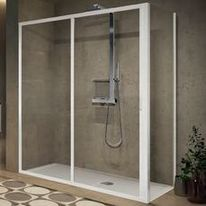 Porte de douche coulissante en verre securit transparent | Lunes2.0_2p