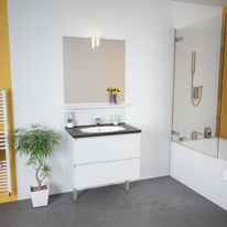 Meuble vasque salle de bain 2 tiroirs avec miroir et applique LED | TEO 2 tiroirs