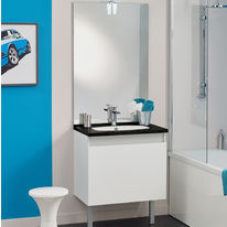 Meuble vasque salle de bain 1 grand tiroir avec miroir et applique LED | TEO 1 Tiroir