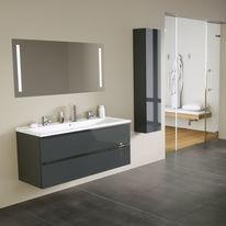 Meuble vasque à tiroirs grande longueur avec miroir de salle de bain | DEUZZIO