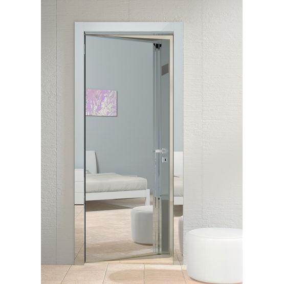 Porte en bois finition effet miroir garofoli for Miroir de porte a suspendre