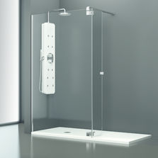 Parois de douche produits du btp - Paroi douche fixe avec volet pivotant ...
