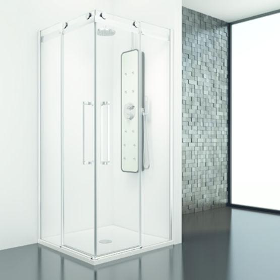 paroi de baignoire et de douche avec panneaux coulissants. Black Bedroom Furniture Sets. Home Design Ideas