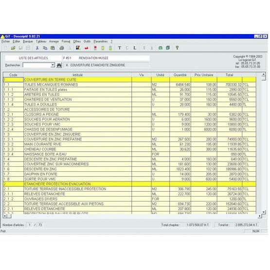 Logiciel de chiffrage et chantier pour ma tres d 39 oeuvre le logiciel git - Logiciel estimation travaux ...