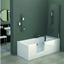 Ensemble baignoire douche avec fonction hydromassage for Porte vitree pour baignoire
