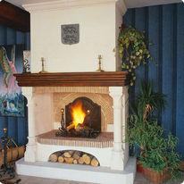 chemin e double foyer avec hotte en briques claires villiers chemin es jean magnan. Black Bedroom Furniture Sets. Home Design Ideas